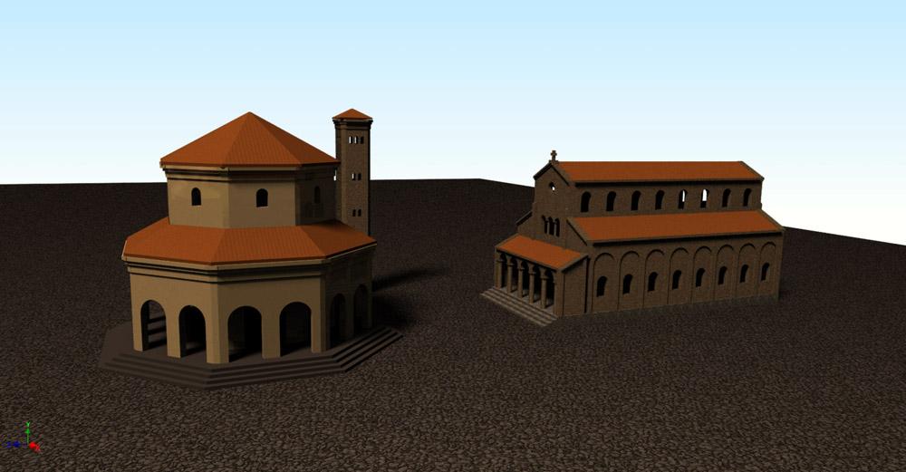 Bild 1. Dreidimensionales Modell der frühchristlichen Basilika