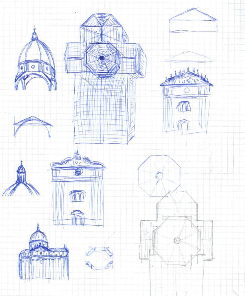 Bild 1. Skizzen der wichtigsten Teile des Doms