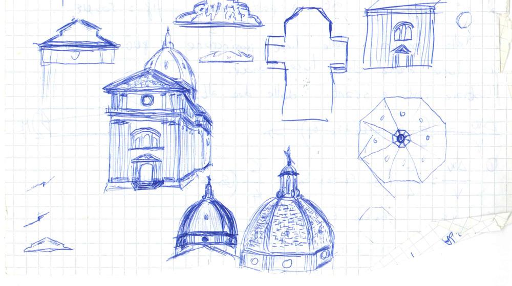 Bild 2. Skizzen der wichtigsten Teile des Doms