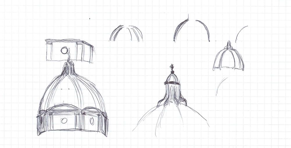 Bild 3. Skizzen der wichtigsten Teile des Doms