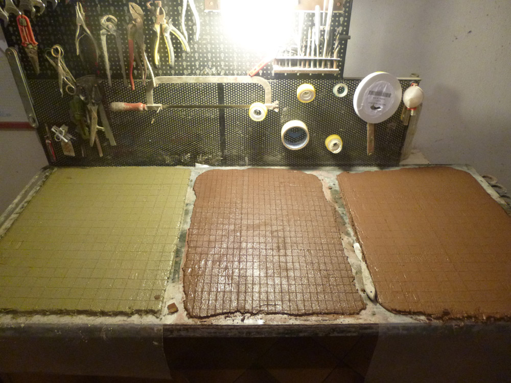 Figure 10. The tiles used for the floors, after the cutting process