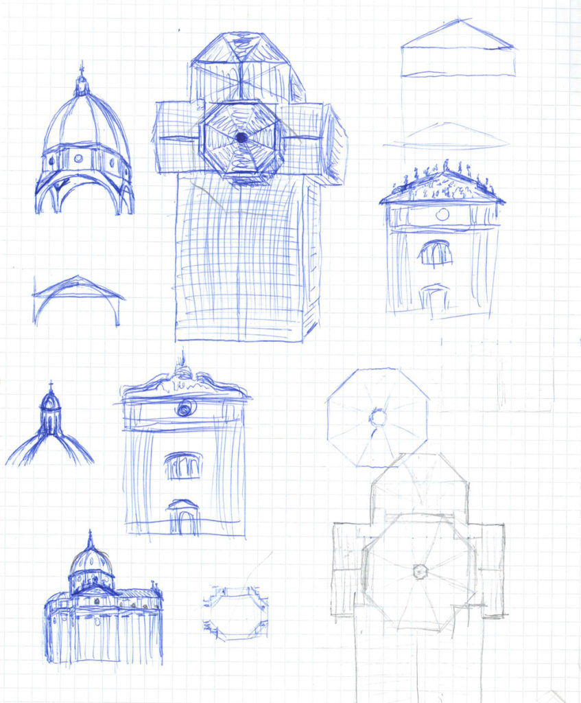 Figure 1. Sketch of the main parts of the church