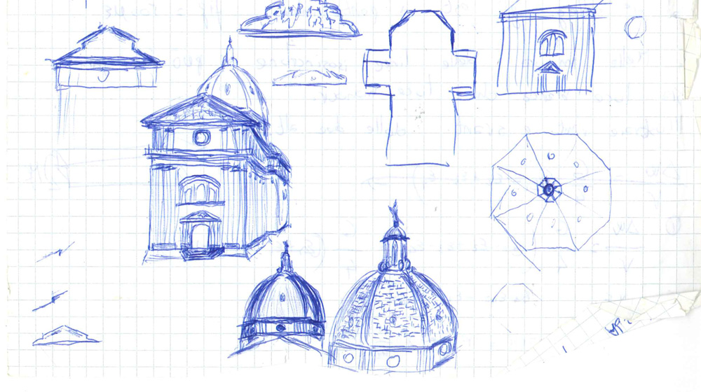 Figure 2. Sketch of the main parts of the church