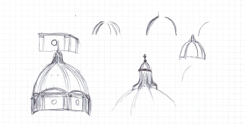Figure 3. Sketch of the main parts of the church
